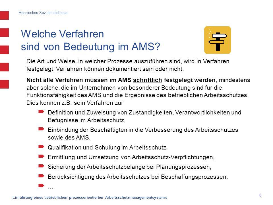Hessisches Sozialministerium Einführung eines betrieblichen prozessorientierten Arbeitsschutzmanagementsystems 9 Welche Verfahren sind von Bedeutung im AMS.