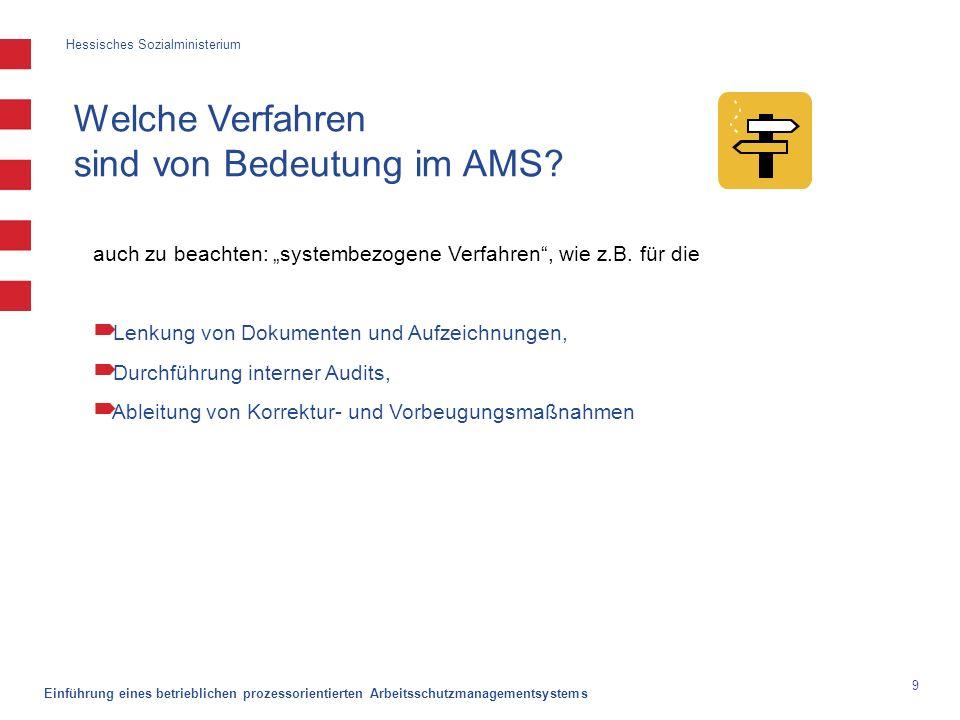 Hessisches Sozialministerium Einführung eines betrieblichen prozessorientierten Arbeitsschutzmanagementsystems 9 Welche Verfahren sind von Bedeutung i