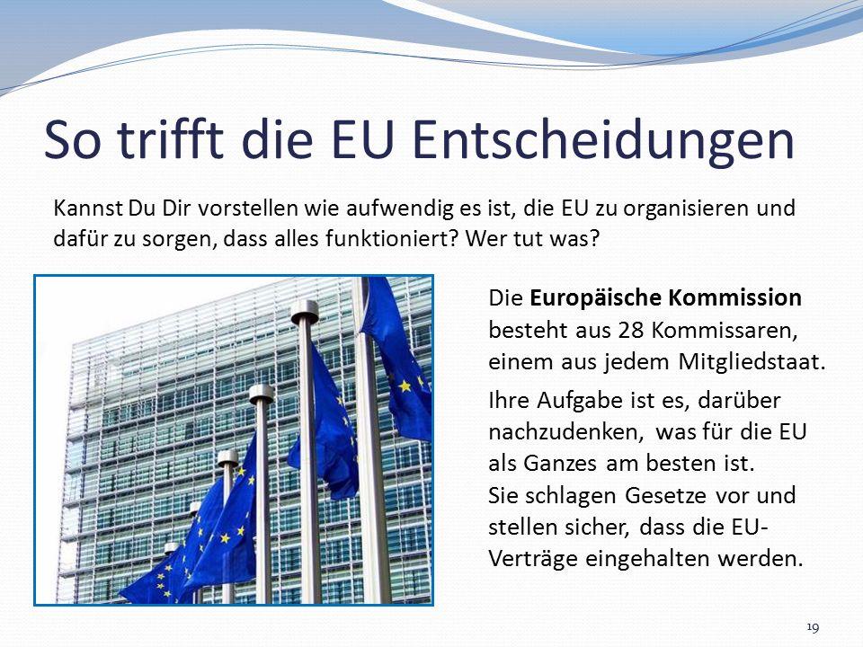 So trifft die EU Entscheidungen 19 Kannst Du Dir vorstellen wie aufwendig es ist, die EU zu organisieren und dafür zu sorgen, dass alles funktioniert?