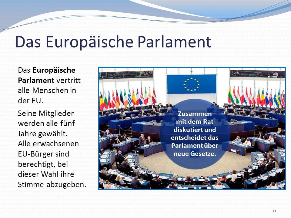 Das Europäische Parlament Das Europäische Parlament vertritt alle Menschen in der EU. Seine Mitglieder werden alle fünf Jahre gewählt. Alle erwachsene