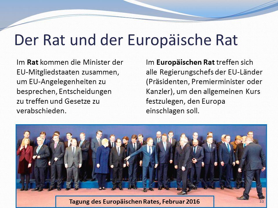 Tagung des Europäischen Rates, Februar 2016 Der Rat und der Europäische Rat Im Rat kommen die Minister der EU-Mitgliedstaaten zusammen, um EU-Angelegenheiten zu besprechen, Entscheidungen zu treffen und Gesetze zu verabschieden.