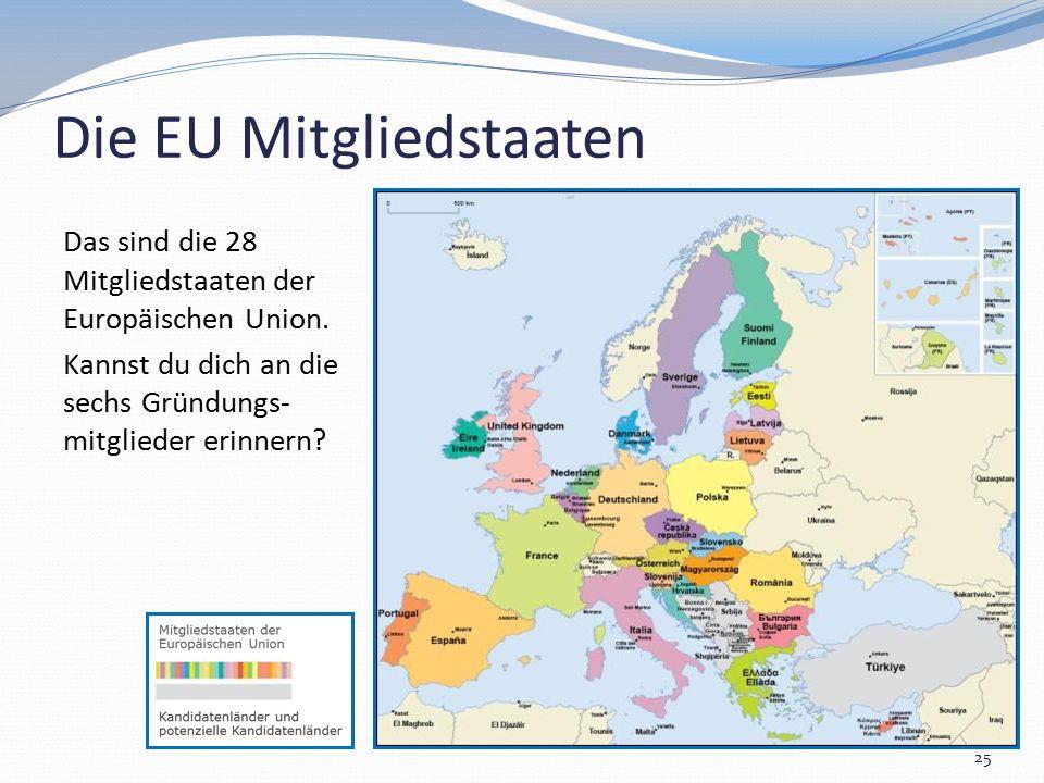 Die EU Mitgliedstaaten Das sind die 28 Mitgliedstaaten der Europäischen Union. Kannst du dich an die sechs Gründungs- mitglieder erinnern? 25