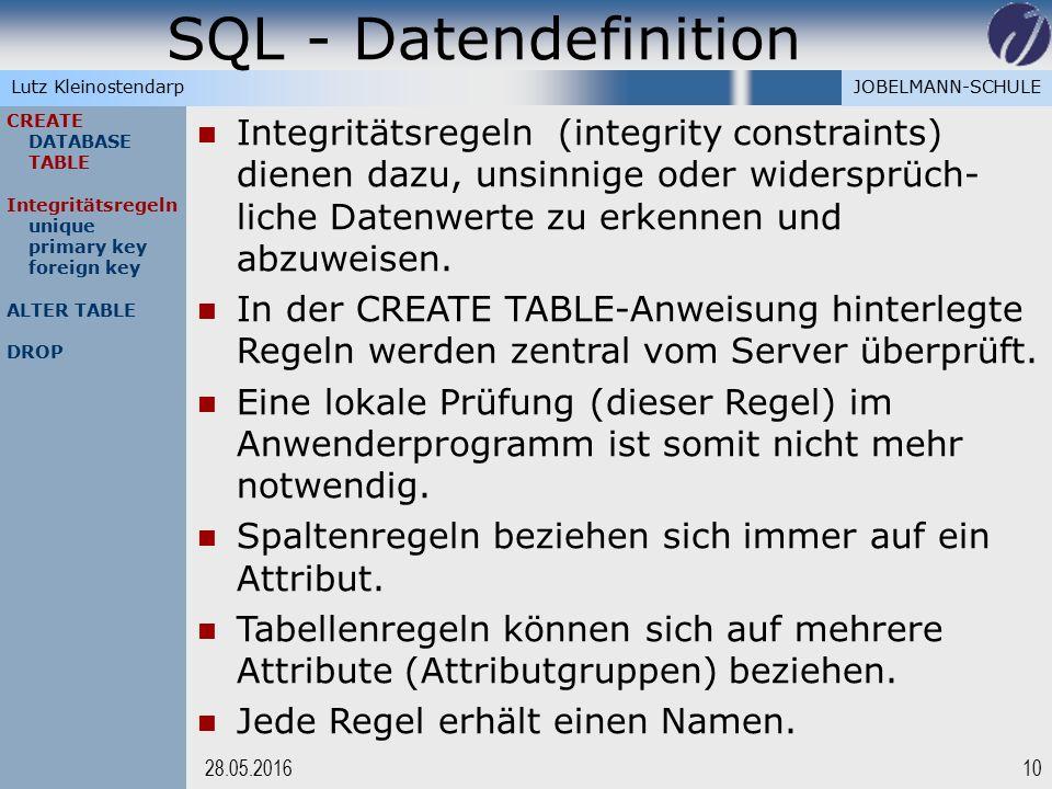 JOBELMANN-SCHULELutz Kleinostendarp SQL - Datendefinition 1028.05.2016 CREATE DATABASE TABLE Integritätsregeln unique primary key foreign key ALTER TA