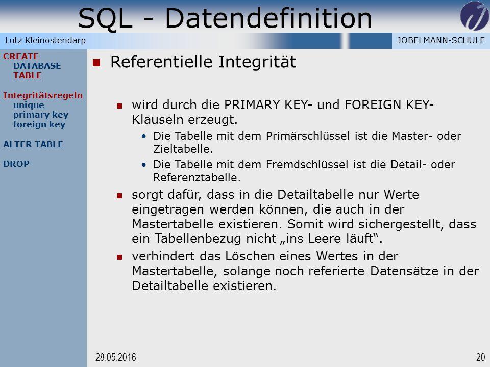 JOBELMANN-SCHULELutz Kleinostendarp SQL - Datendefinition 2028.05.2016 CREATE DATABASE TABLE Integritätsregeln unique primary key foreign key ALTER TA