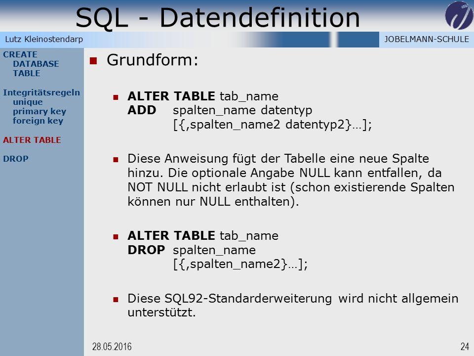 JOBELMANN-SCHULELutz Kleinostendarp SQL - Datendefinition 2428.05.2016 CREATE DATABASE TABLE Integritätsregeln unique primary key foreign key ALTER TA