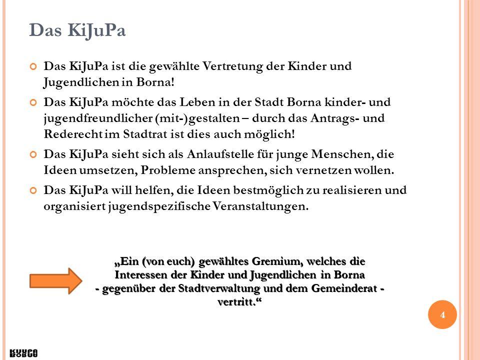 4 Das KiJuPa Das KiJuPa ist die gewählte Vertretung der Kinder und Jugendlichen in Borna! Das KiJuPa möchte das Leben in der Stadt Borna kinder- und j