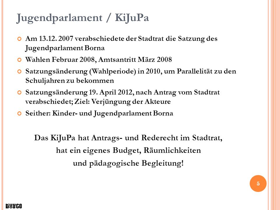 16 Kontakt Kinder- und Jugendparlament Borna Markt 2, 04552 Borna Tel: 03433 873158 (AB) Fax: 03433 873159 Mobil: 0163 7662710 kijupa@borna.de www.jupa-borna.de www.facebook.de/KIJUPABORNA www.twitter.JUPABORNA Öffnungszeiten: Termine nach Absprache.