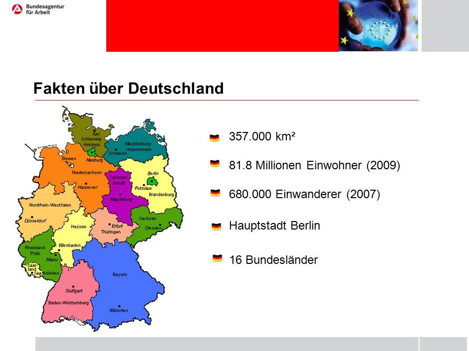 Fakten über Deutschland 357.000 km² 81.8 Millionen Einwohner (2009) 680.000 Einwanderer (2007) Hauptstadt Berlin 16 Bundesländer