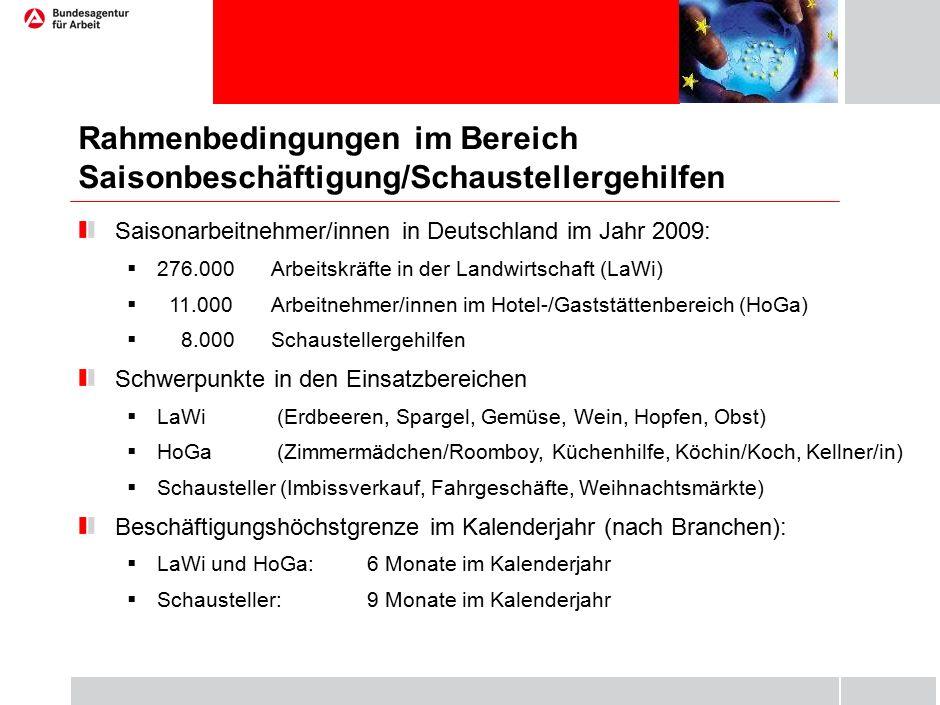 Rahmenbedingungen im Bereich Saisonbeschäftigung/Schaustellergehilfen Saisonarbeitnehmer/innen in Deutschland im Jahr 2009:  276.000Arbeitskräfte in der Landwirtschaft (LaWi)  11.000 Arbeitnehmer/innen im Hotel-/Gaststättenbereich (HoGa)  8.000Schaustellergehilfen Schwerpunkte in den Einsatzbereichen  LaWi (Erdbeeren, Spargel, Gemüse, Wein, Hopfen, Obst)  HoGa (Zimmermädchen/Roomboy, Küchenhilfe, Köchin/Koch, Kellner/in)  Schausteller (Imbissverkauf, Fahrgeschäfte, Weihnachtsmärkte) Beschäftigungshöchstgrenze im Kalenderjahr (nach Branchen):  LaWi und HoGa: 6 Monate im Kalenderjahr  Schausteller: 9 Monate im Kalenderjahr