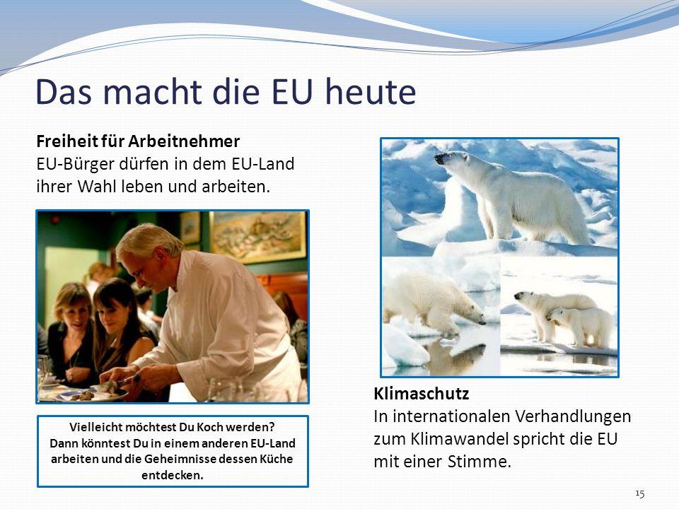 Das macht die EU heute 15 Klimaschutz In internationalen Verhandlungen zum Klimawandel spricht die EU mit einer Stimme. Vielleicht möchtest Du Koch we
