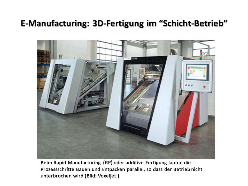 E-Manufacturing: 3D-Fertigung im Schicht-Betrieb Beim Rapid Manufacturing (RP) oder additive Fertigung laufen die Prozessschritte Bauen und Entpacken parallel, so dass der Betrieb nicht unterbrochen wird (Bild: Voxeljet )
