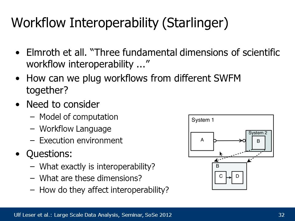 "Ulf Leser et al.: Large Scale Data Analysis, Seminar, SoSe 201232 Workflow Interoperability (Starlinger) Elmroth et all. ""Three fundamental dimensions"
