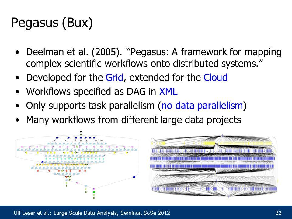 """Ulf Leser et al.: Large Scale Data Analysis, Seminar, SoSe 201233 Pegasus (Bux) Deelman et al. (2005). """"Pegasus: A framework for mapping complex scien"""