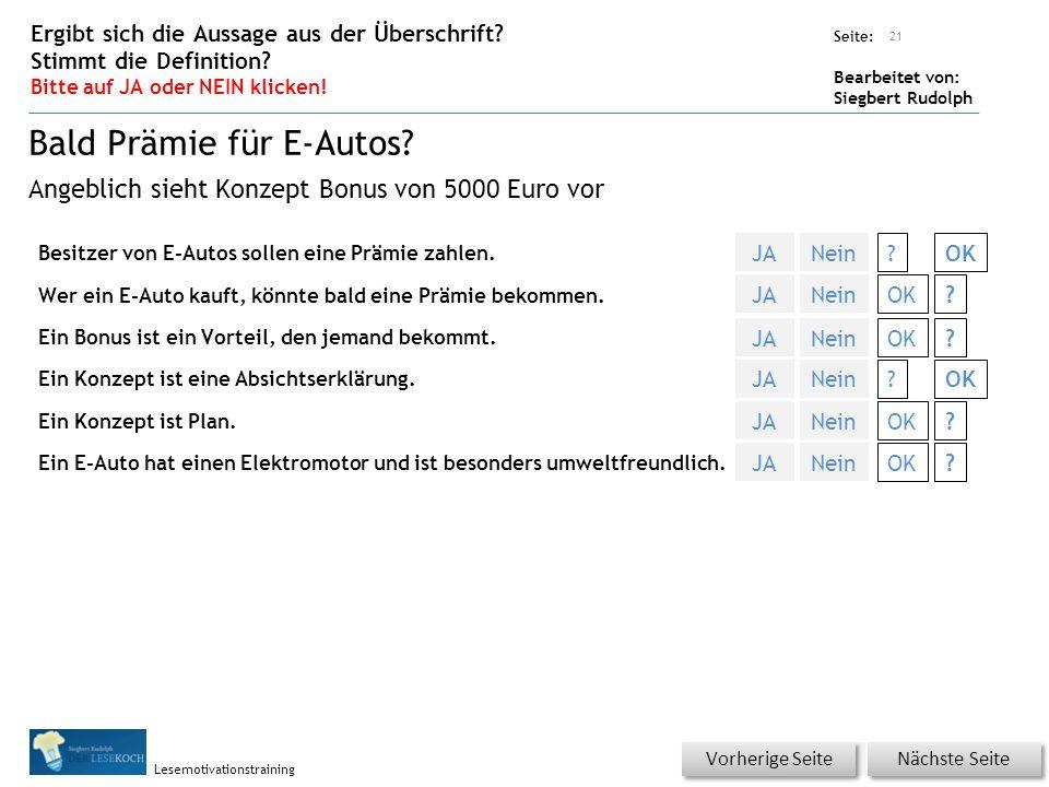 Übungsart: Seite: Bearbeitet von: Siegbert Rudolph Lesemotivationstraining Besitzer von E-Autos sollen eine Prämie zahlen.