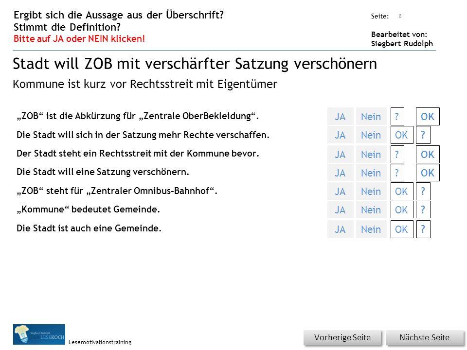 """Übungsart: Seite: Bearbeitet von: Siegbert Rudolph Lesemotivationstraining """"ZOB ist die Abkürzung für """"Zentrale OberBekleidung ."""