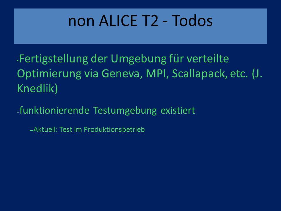 non ALICE T2 - Todos Fertigstellung der Umgebung für verteilte Optimierung via Geneva, MPI, Scallapack, etc.