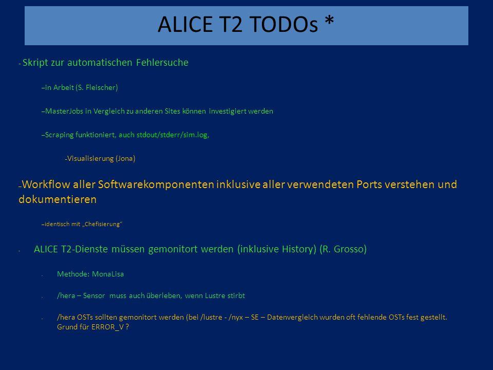 ALICE T2 TODOs * - Skript zur automatischen Fehlersuche – in Arbeit (S.