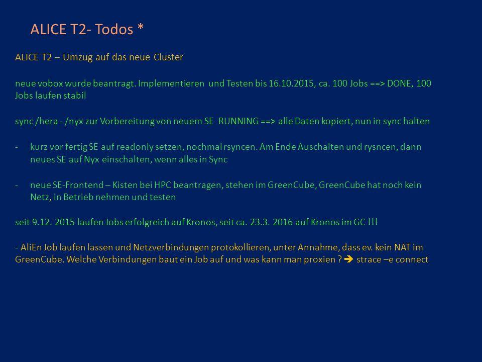 ALICE T2- Todos * ALICE T2 – Umzug auf das neue Cluster neue vobox wurde beantragt.