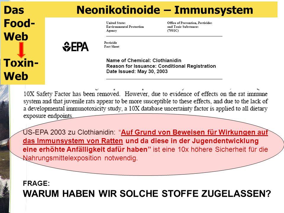 US-EPA 2003 zu Clothianidin: Auf Grund von Beweisen für Wirkungen auf das Immunsystem von Ratten und da diese in der Jugendentwicklung eine erhöhte Anfälligkeit dafür haben ist eine 10x höhere Sicherheit für die Nahrungsmittelexposition notwendig.