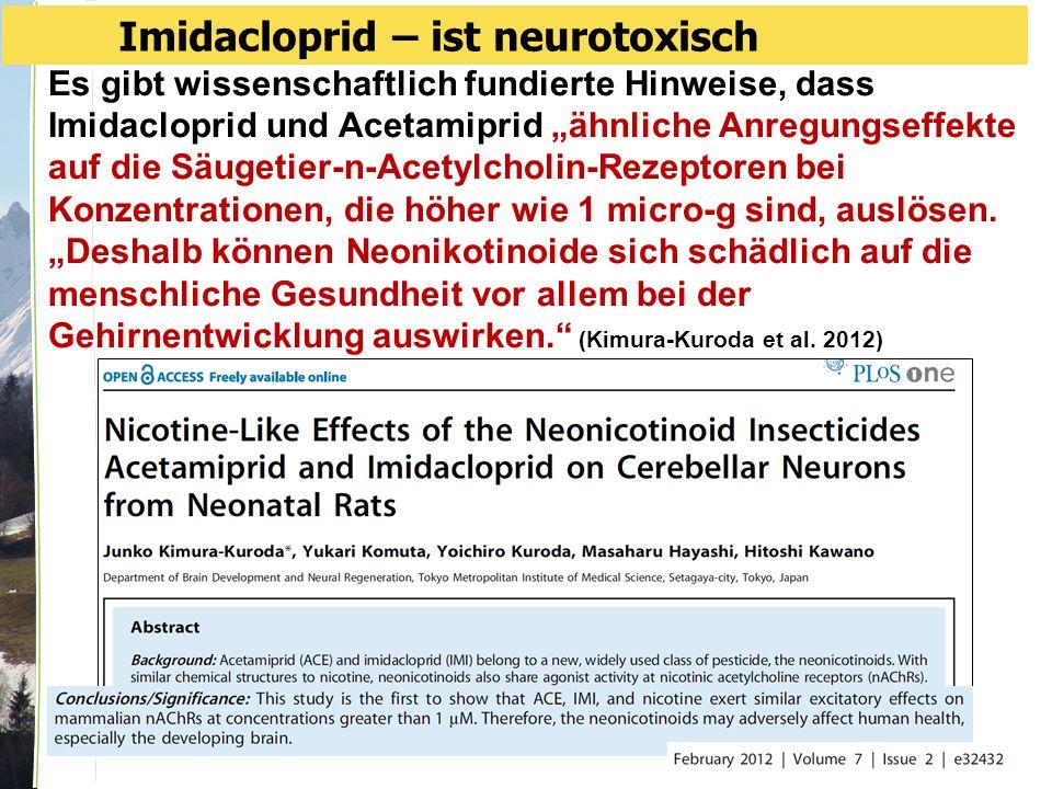 """Es gibt wissenschaftlich fundierte Hinweise, dass Imidacloprid und Acetamiprid """"ähnliche Anregungseffekte auf die Säugetier-n-Acetylcholin-Rezeptoren bei Konzentrationen, die höher wie 1 micro-g sind, auslösen."""