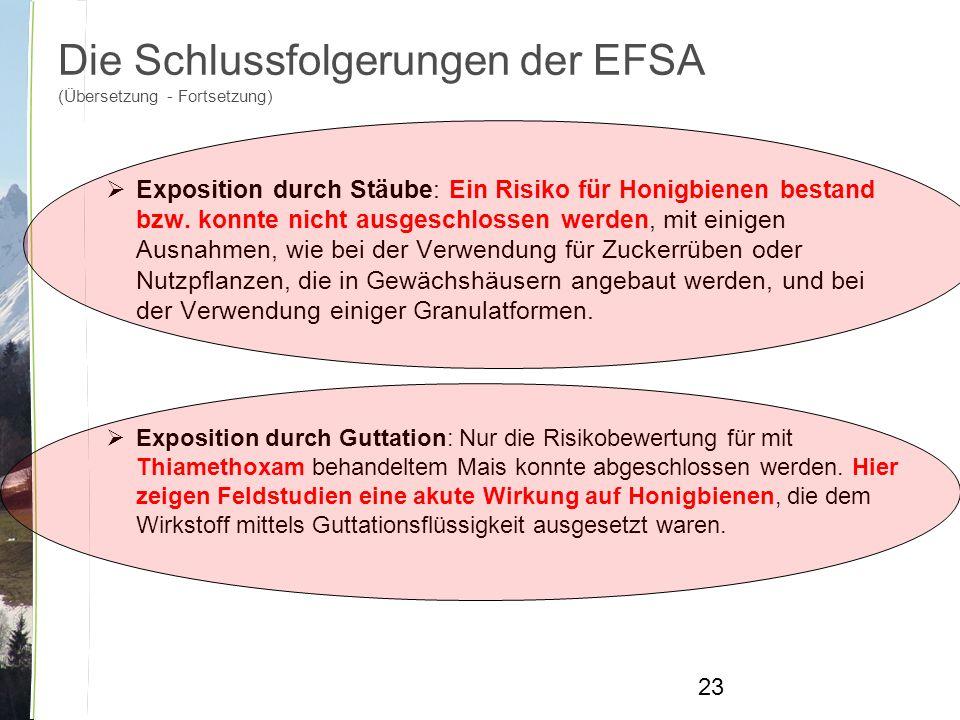 Die Schlussfolgerungen der EFSA (Übersetzung - Fortsetzung)  Exposition durch Stäube: Ein Risiko für Honigbienen bestand bzw.