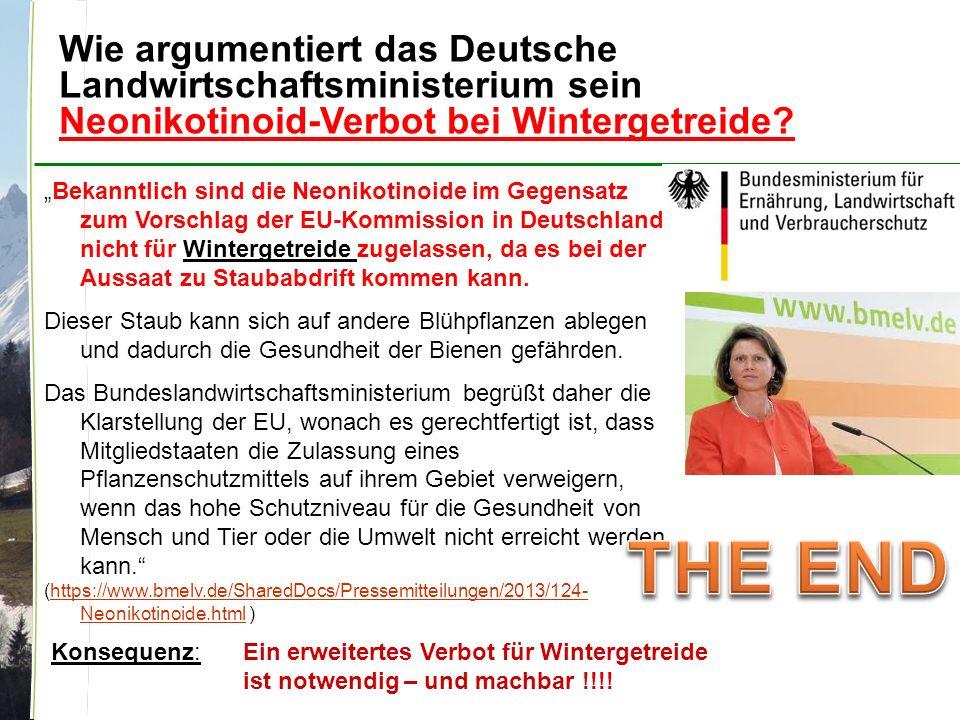 Wie argumentiert das Deutsche Landwirtschaftsministerium sein Neonikotinoid-Verbot bei Wintergetreide.