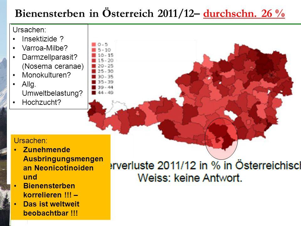 Bienensterben in Österreich 2011/12– durchschn. 26 % Ursachen: Insektizide .