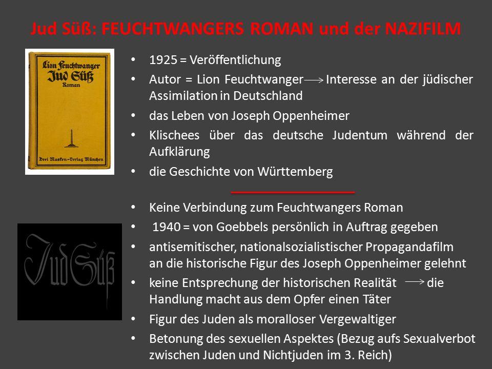 Jud Süß: FEUCHTWANGERS ROMAN und der NAZIFILM 1925 = Veröffentlichung Autor = Lion Feuchtwanger Interesse an der jüdischer Assimilation in Deutschland