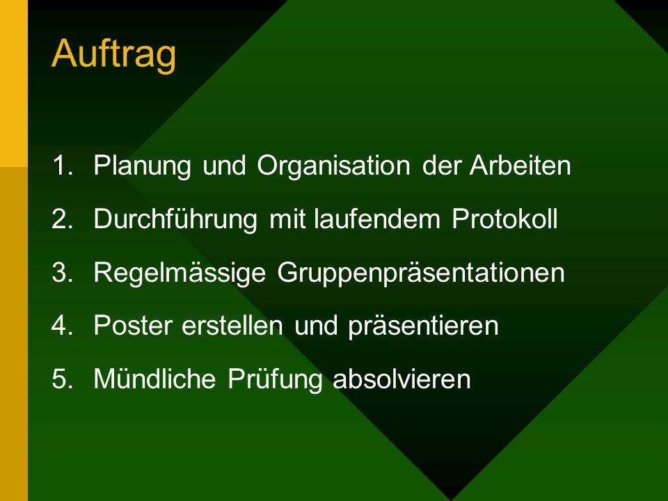 Auftrag 1.Planung und Organisation der Arbeiten 2.Durchführung mit laufendem Protokoll 3.Regelmässige Gruppenpräsentationen 4.Poster erstellen und präsentieren 5.Mündliche Prüfung absolvieren