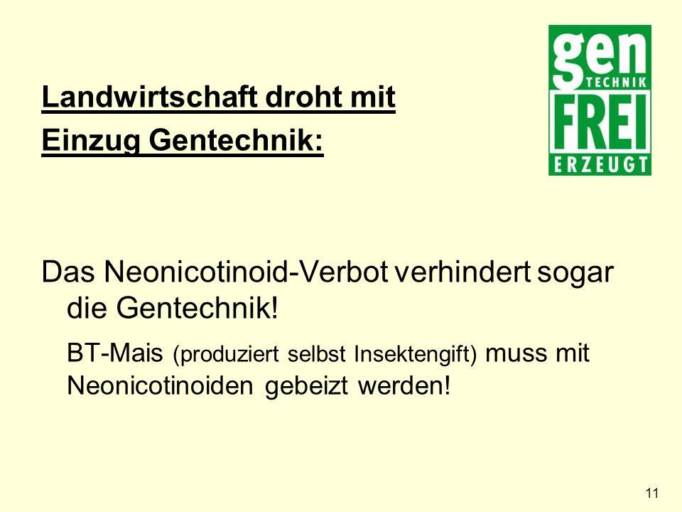 11 Landwirtschaft droht mit Einzug Gentechnik: Das Neonicotinoid-Verbot verhindert sogar die Gentechnik.