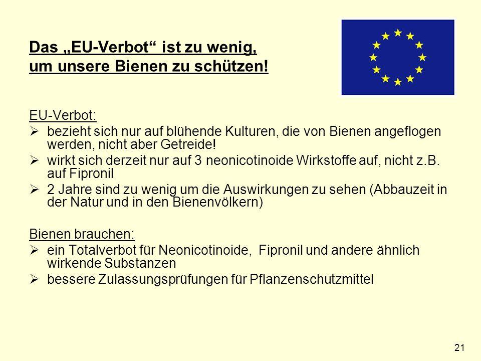 """21 Das """"EU-Verbot ist zu wenig, um unsere Bienen zu schützen."""