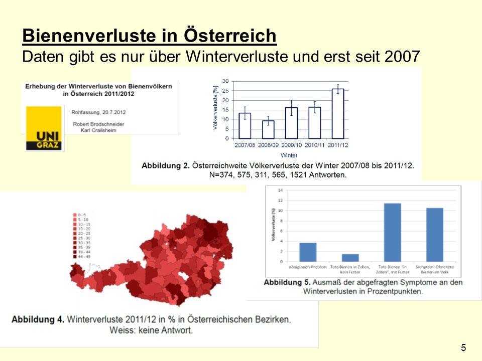 5 Bienenverluste in Österreich Daten gibt es nur über Winterverluste und erst seit 2007