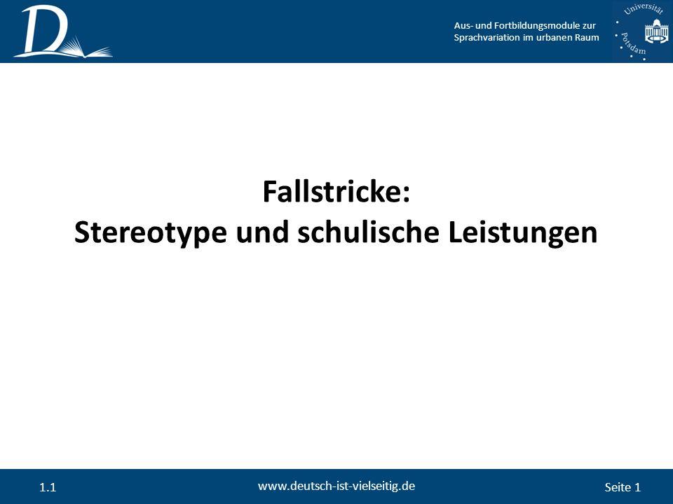 Seite 1 www.deutsch-ist-vielseitig.de 1.1 Fallstricke: Stereotype und schulische Leistungen Aus- und Fortbildungsmodule zur Sprachvariation im urbanen Raum