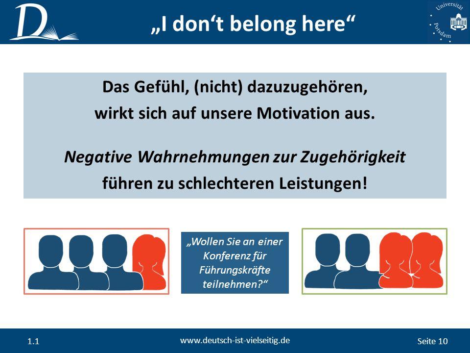 """Seite 10 www.deutsch-ist-vielseitig.de 1.1 """"I don't belong here Das Gefühl, (nicht) dazuzugehören, wirkt sich auf unsere Motivation aus."""
