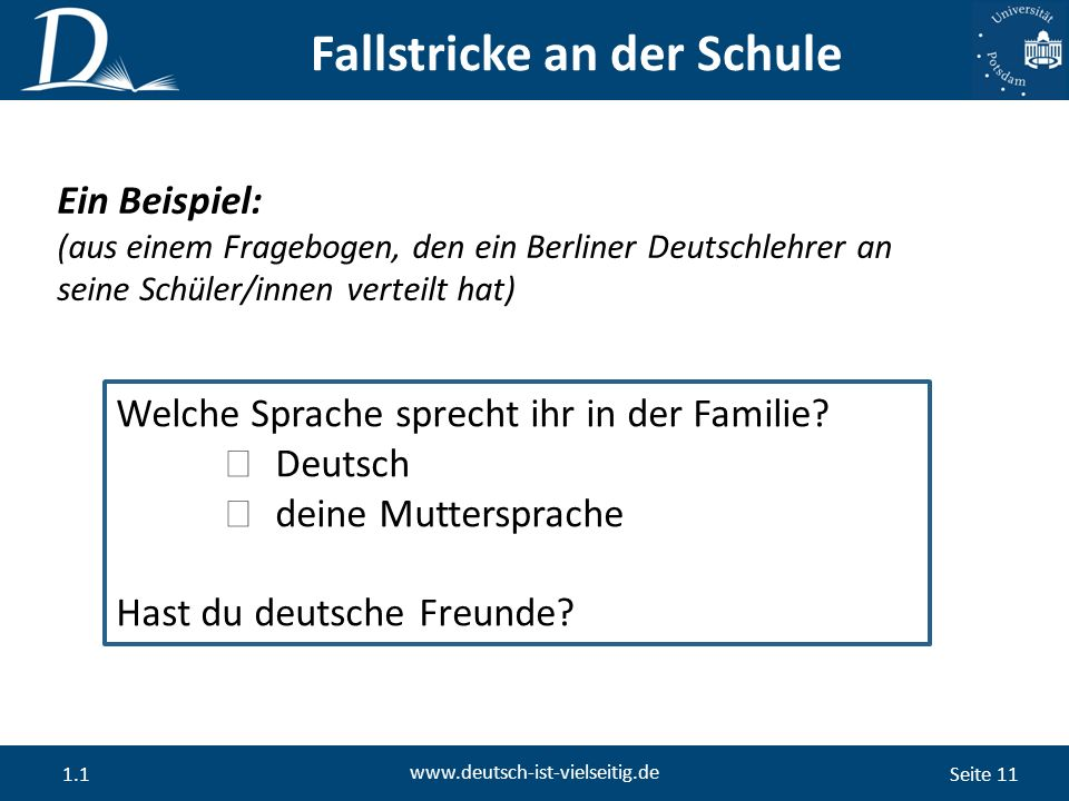 Seite 11 www.deutsch-ist-vielseitig.de 1.1 Fallstricke an der Schule Ein Beispiel: (aus einem Fragebogen, den ein Berliner Deutschlehrer an seine Schüler/innen verteilt hat) Welche Sprache sprecht ihr in der Familie.