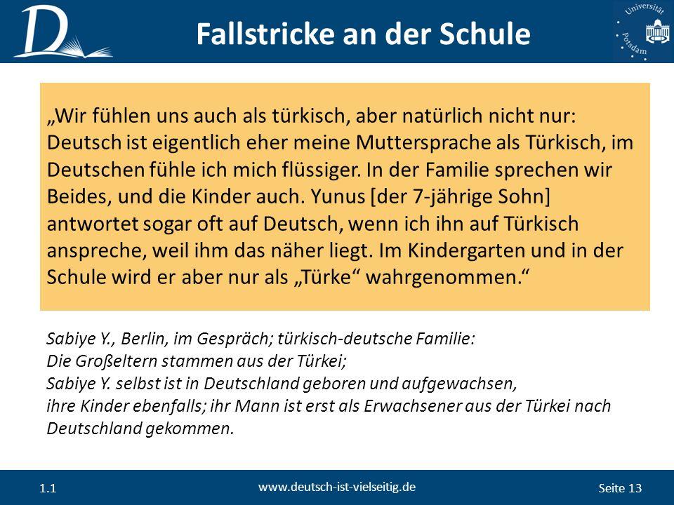 """Seite 13 www.deutsch-ist-vielseitig.de 1.1 """"Wir fühlen uns auch als türkisch, aber natürlich nicht nur: Deutsch ist eigentlich eher meine Muttersprache als Türkisch, im Deutschen fühle ich mich flüssiger."""