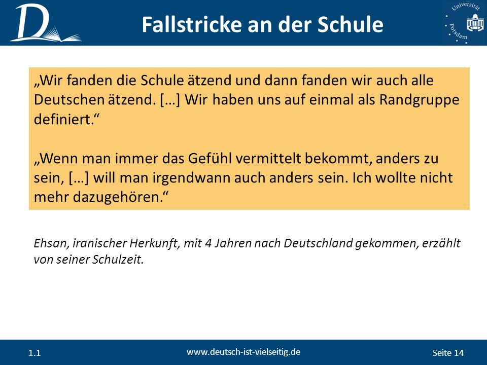 """Seite 14 www.deutsch-ist-vielseitig.de 1.1 """"Wir fanden die Schule ätzend und dann fanden wir auch alle Deutschen ätzend."""