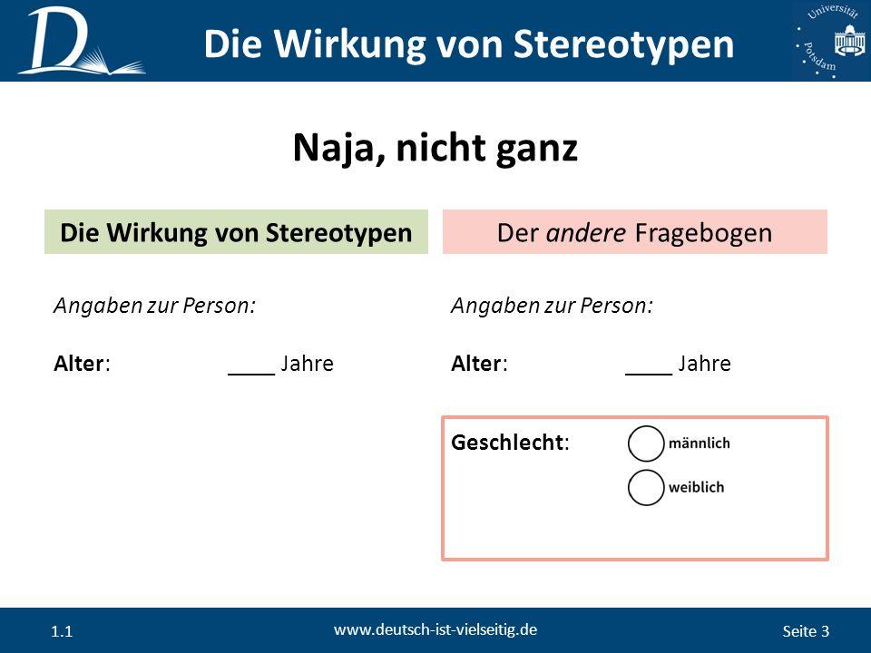 Seite 3 www.deutsch-ist-vielseitig.de 1.1 Naja, nicht ganz Die Wirkung von Stereotypen Der andere Fragebogen Angaben zur Person: Alter:____ Jahre Angaben zur Person: Alter:____ Jahre Geschlecht: