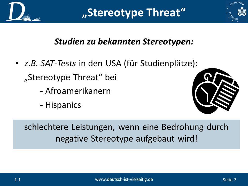 """Seite 7 www.deutsch-ist-vielseitig.de 1.1 """"Stereotype Threat z.B."""