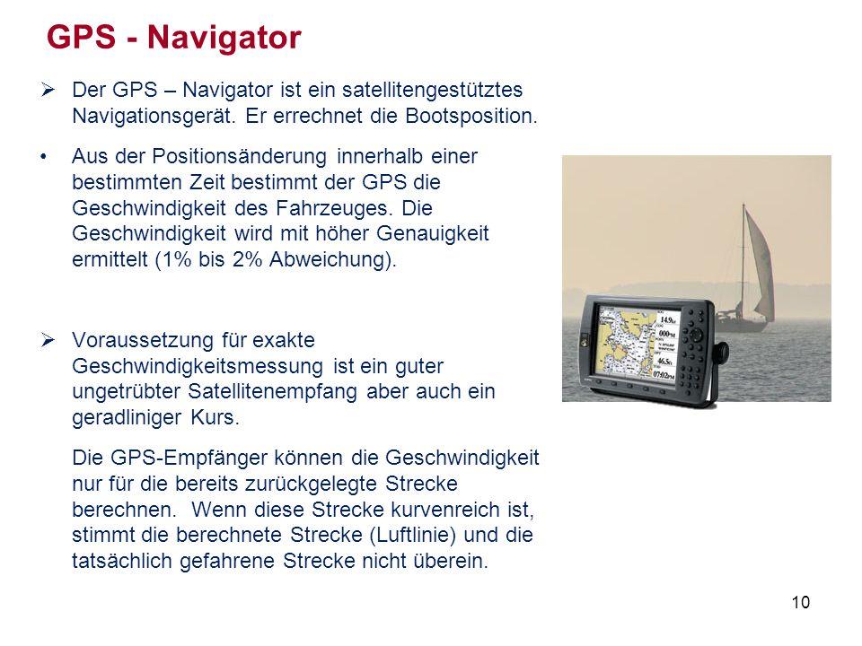 10 GPS - Navigator  Der GPS – Navigator ist ein satellitengestütztes Navigationsgerät.