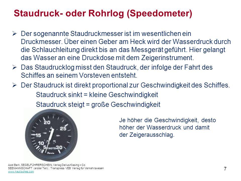 7 Staudruck- oder Rohrlog (Speedometer)  Der sogenannte Staudruckmesser ist im wesentlichen ein Druckmesser.