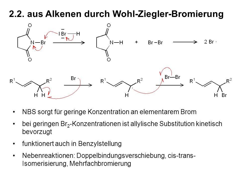 2.2. aus Alkenen durch Wohl-Ziegler-Bromierung NBS sorgt für geringe Konzentration an elementarem Brom bei geringen Br 2 -Konzentrationen ist allylisc