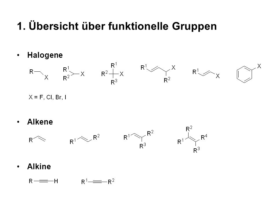 1. Übersicht über funktionelle Gruppen Halogene Alkene Alkine
