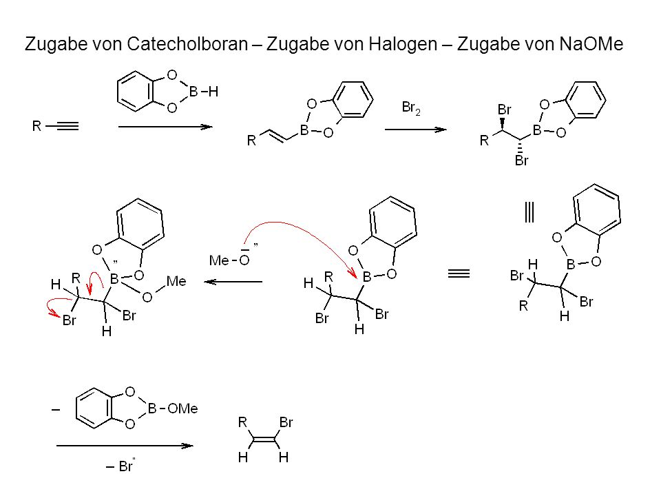Zugabe von Catecholboran – Zugabe von Halogen – Zugabe von NaOMe