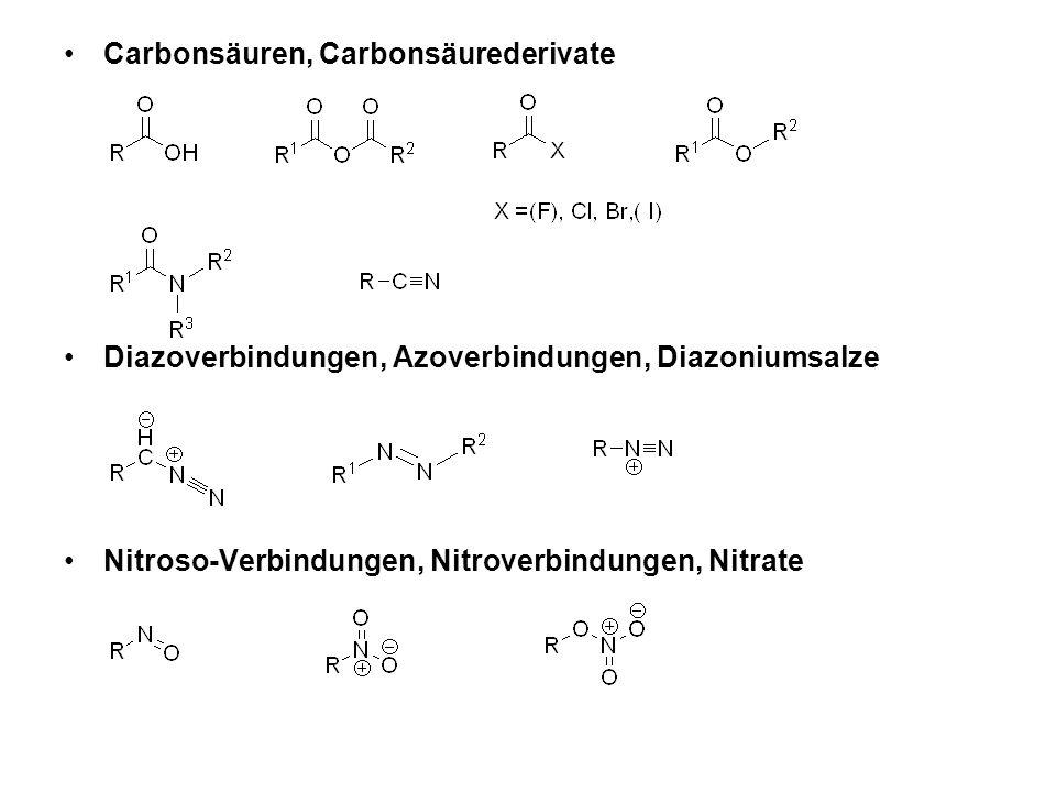 Sulfoxide, Sulfone, Sulfensäuren, Sulfinsäuren, Sulfonsäuren Phosphine, Phosphite, Phosphonate, Kohlensäurederivate