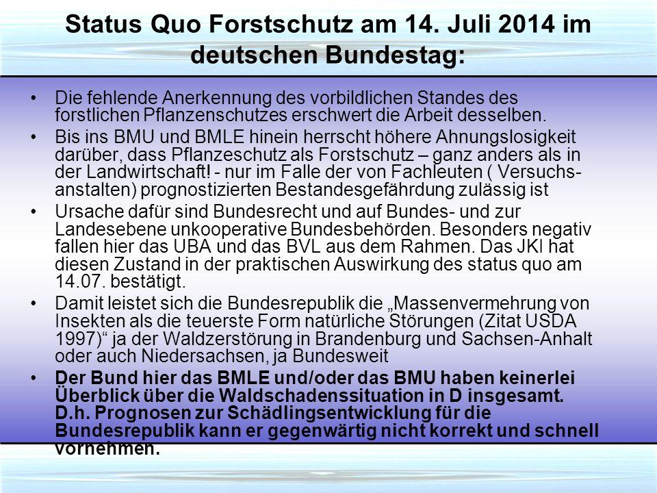 Status Quo Forstschutz am 14.