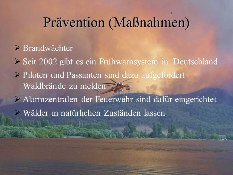 Prävention (Maßnahmen)  Brandwächter  Seit 2002 gibt es ein Frühwarnsystem in Deutschland  Piloten und Passanten sind dazu aufgefordert Waldbrände zu melden  Alarmzentralen der Feuerwehr sind dafür eingerichtet  Wälder in natürlichen Zuständen lassen