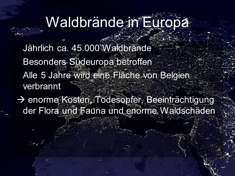Waldbrände in Europa Jährlich ca.