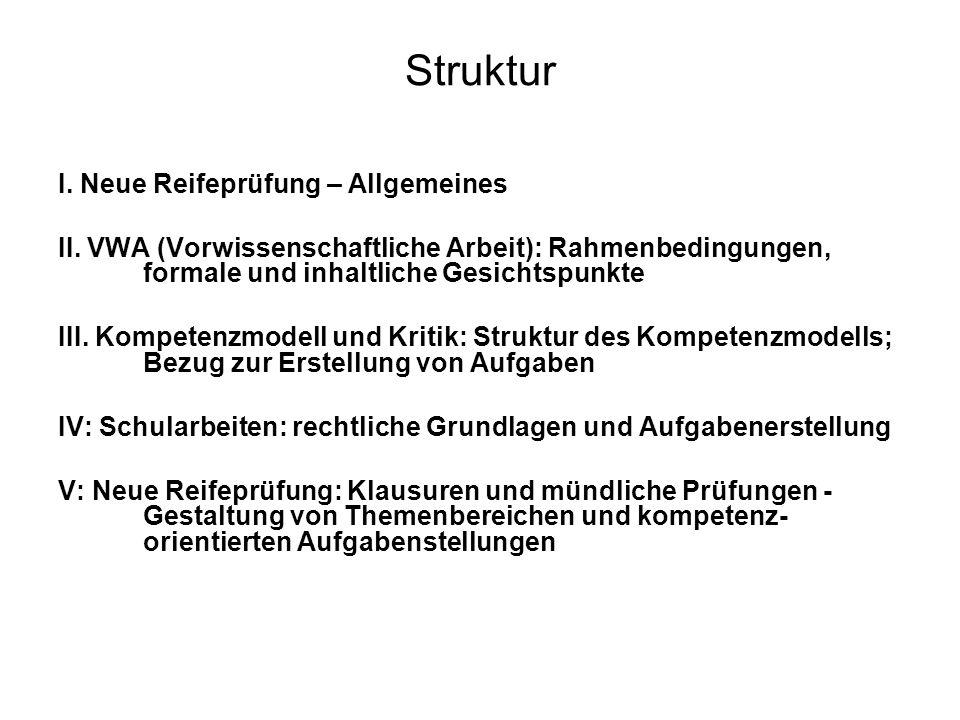 Struktur I. Neue Reifeprüfung – Allgemeines II. VWA (Vorwissenschaftliche Arbeit): Rahmenbedingungen, formale und inhaltliche Gesichtspunkte III. Komp