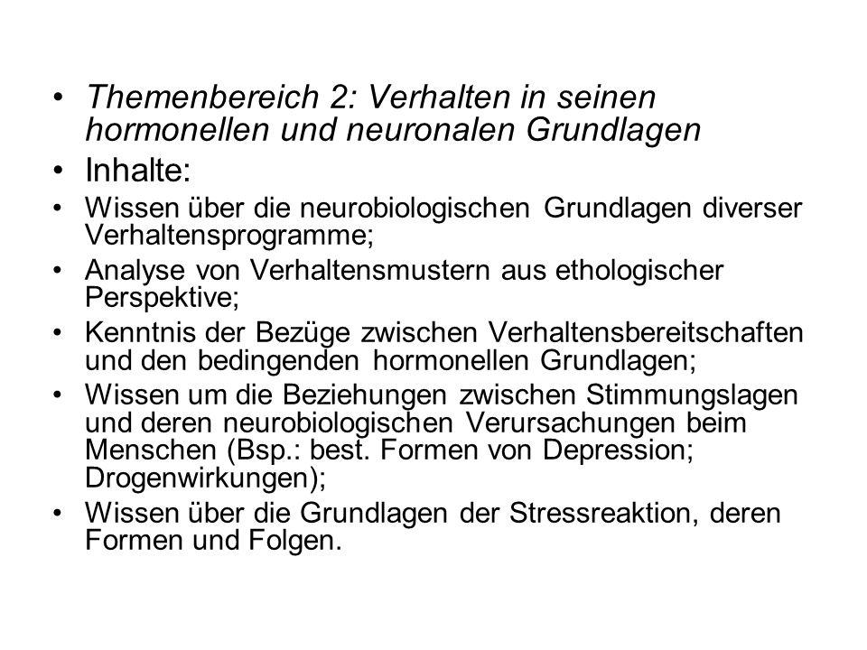 Themenbereich 2: Verhalten in seinen hormonellen und neuronalen Grundlagen Inhalte: Wissen über die neurobiologischen Grundlagen diverser Verhaltenspr